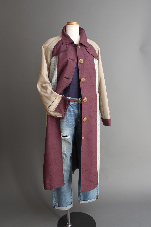 ひげ紬コート・ドレス(前) Hige-tsumugi coat dress (front)