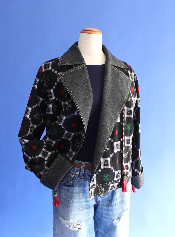 久留米絣ライダーズ・ジャケット Kurume-kasuri riders jacket